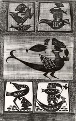 Hans Oswald (Swedish). Birds and Fish, 1952. Woodcut on thin Japan paper, 16 13/16 x 10 3/8 in. (42.7 x 26.3 cm). Brooklyn Museum, A. Augustus Healy Fund, 53.168.19. © artist or artist's estate