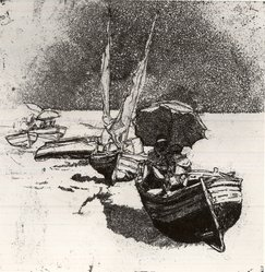 Renzo Vespignani (Italian, 1924-2001). Boats and Umbrellas, 1952. Etching on heavy wove paper, 9 3/8 x 10 in. (23.8 x 25.4 cm). Brooklyn Museum, A. Augustus Healy Fund, 53.168.34. © artist or artist's estate