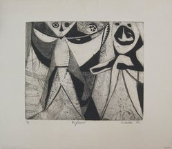 Michael F. Podulke. Pagliacci, 1950. Etching on paper, sheet: 15 1/2 x 17 11/16 in. (39.4 x 44.9 cm). Brooklyn Museum, Anonymous gift, 54.152. © artist or artist's estate