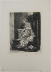 John Sloan (American, 1871-1951). Nude on Stairs, 1930. Etching on wove paper, Mat: 14 3/16 x 19 3/16 in. (36 x 48.7 cm). Brooklyn Museum, Dick S. Ramsay Fund, 58.9.1. © artist or artist's estate