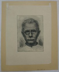 Oscar Grosch (American, 1863-1928). Self Portrait, 1923. Etching, Sheet: 13 1/4 x 10 13/16 in. (33.6 x 27.5 cm). Brooklyn Museum, Gift of Margaret Grosch Williams, 55.164.2. © artist or artist's estate