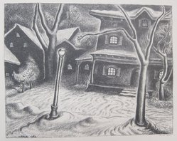 Wanda Gág (American, 1893-1946). Wagon House, 1929. Lithograph on white wove paper, 4 5/8 x 6 3/4 in. (11.7 x 17.1 cm). Brooklyn Museum, Gift of Erhart Weyhe, 56.4.34. © artist or artist's estate