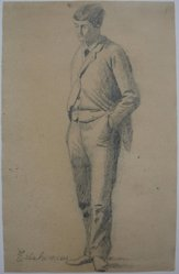 Louis Michel Eilshemius (American, 1864-1942). Man Standing with Hands in His Pockets, n.d. Graphite on paper, Sheet: 9 1/8 x 5 13/16 in. (23.2 x 14.8 cm). Brooklyn Museum, Gift of Louise Nevelson, 57.127.2. © artist or artist's estate