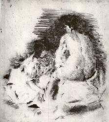 Giovanni Romagnoli (Italian, 1893-1976). Donna Seduta. Etching on wove paper, 9 1/16 x 8 in. (23 x 20.3 cm). Brooklyn Museum, Carll H. de Silver Fund, 58.165.13. © artist or artist's estate