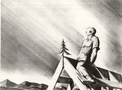 Rockwell Kent (American, 1882-1971). Rooftree, 1928. Lithograph (crayon) on wove paper, Sheet: 13 3/4 x 17 in. (34.9 x 43.2 cm). Brooklyn Museum, Gift of Mrs. Donald M. Oenslager, 60.186. © artist or artist's estate