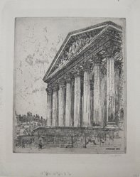 John Marin (American, 1870-1953). La Madeleine, 1908. Etching on wove paper, Sheet: 16 7/8 x 13 3/8 in. (42.9 x 34 cm). Brooklyn Museum, Dick S. Ramsay Fund, 61.216.9. © artist or artist's estate