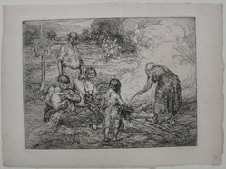 George Renouard (American, 1855-1954). Family in the Field, n.d. Etching (and drypoint?) on paper, sheet: 7 9/16 x 10 1/4 in. (19.2 x 26 cm). Brooklyn Museum, Gift of Harold W. Walker, 61.38.1. © artist or artist's estate