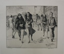 Martin Lewis (American, born Australia, 1883-1962). Windy Day, n.d. Etching on paper, sheet: 12 7/8 x 15 in. (32.7 x 38.1 cm). Brooklyn Museum, Gift of Mrs. Dudley Nichols in memory of her husband, 63.204.1. © artist or artist's estate