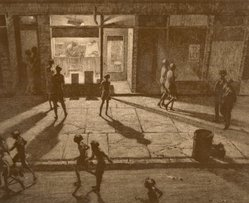 Martin Lewis (American, born Australia, 1883-1962). Spring Night, Greenwich Village, 1930. Drypoint and sand ground on paper, sheet: 13 3/8 x 15 3/4 in. (34 x 40 cm). Brooklyn Museum, Gift of Mrs. Dudley Nichols in memory of her husband, 63.204.11. © artist or artist's estate