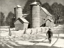 Martin Lewis (American, born Australia, 1883-1962). Gran'pa Takes a Walk, ca. 1940. Etching and aquatint on paper, sheet: 12 3/8 x 16 7/16 in. (31.4 x 41.8 cm). Brooklyn Museum, Gift of Mrs. Dudley Nichols in memory of her husband, 63.204.19. © artist or artist's estate