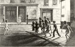 Martin Lewis (American, born Australia, 1883-1962). Bedford Street Gang, 1936. Drypoint and sandpaper ground, sheet: 13 x 18 1/16 in. (33 x 45.9 cm). Brooklyn Museum, Gift of Mrs. Dudley Nichols in memory of her husband, 63.204.2. © artist or artist's estate