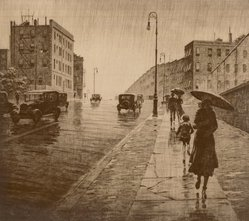 Martin Lewis (American, born Australia, 1883-1962). Rainy Day, Queens, 1931. Drypoint on paper, image: 10 5/8 x 11 7/8 in. (27 x 30.2 cm). Brooklyn Museum, Gift of Mrs. Dudley Nichols in memory of her husband, 63.204.22. © artist or artist's estate