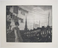 Martin Lewis (American, born Australia, 1883-1962). Glow of the City, 1929. Drypoint on paper, sheet: 14 3/4 x 18 1/16 in. (37.5 x 45.9 cm). Brooklyn Museum, Gift of Mrs. Dudley Nichols in memory of her husband, 63.204.27. © artist or artist's estate