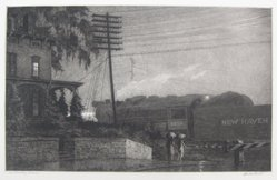 Martin Lewis (American, born Australia, 1883-1962). Passing Freight Train, 1934. Etching on paper, sheet: 12 1/2 x 17 7/8 in. (31.8 x 45.4 cm). Brooklyn Museum, Gift of Mrs. Dudley Nichols in memory of her husband, 63.204.3. © artist or artist's estate