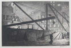 Martin Lewis (American, born Australia, 1883-1962). Derricks at Night, 1927. Etching on paper, sheet: 11 1/2 x 15 1/2 in. (29.2 x 39.4 cm). Brooklyn Museum, Gift of Mrs. Dudley Nichols in memory of her husband, 63.204.31. © artist or artist's estate