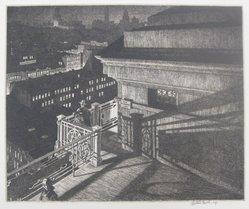 Martin Lewis (American, born Australia, 1883-1962). East - Side Night (Williamsburg Bridge), 1928. Etching and drypoint on paper, sheet: 12 1/16 x 15 3/8 in. (30.6 x 39.1 cm). Brooklyn Museum, Gift of Mrs. Dudley Nichols in memory of her husband, 63.204.34. © artist or artist's estate