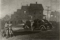 Martin Lewis (American, born Australia, 1883-1962). The Parking Lot, ca. 1942. Lithograph on paper, sheet: 12 5/8 x 18 3/8 in. (32.1 x 46.7 cm). Brooklyn Museum, Gift of Mrs. Dudley Nichols in memory of her husband, 63.204.38. © artist or artist's estate