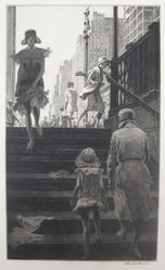 Martin Lewis (American, born Australia, 1883-1962). Subway Steps, 1930. Etching and drypoint on paper, sheet: 17 7/16 x 11 in. (44.3 x 27.9 cm). Brooklyn Museum, Gift of Mrs. Dudley Nichols in memory of her husband, 63.204.9. © artist or artist's estate