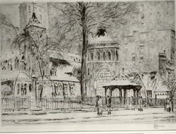 Frederick Childe Hassam (American, 1859-1935). The Little Church Around the Corner, 1923. Etching Brooklyn Museum, Gift of Joseph S. Gotlieb, 63.234.3. © artist or artist's estate
