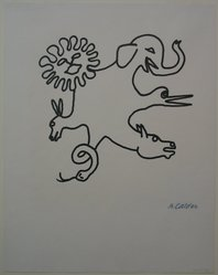 Alexander Calder (American, 1898-1976). Circus Study, 1944. Ink on paper, Sheet: 14 1/2 x 11 7/16 in. (36.8 x 29.1 cm). Brooklyn Museum, Gift of The Louis E. Stern Foundation, Inc., 64.101.128. © artist or artist's estate
