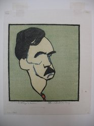 William Auerbach-Levy (American, 1889-1964). Eugene O'Neill. Color woodcut, Sheet: 12 5/8 x 10 9/16 in. (32.1 x 26.8 cm). Brooklyn Museum, Gift of The Louis E. Stern Foundation, Inc., 64.101.265. © artist or artist's estate