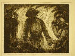 Shulamith Wittenberg Miller. Lag Ba'Omer in Maron, 1960. Etching on paper, image: 6 x 8 in. (15.2 x 20.3 cm). Brooklyn Museum, A. Augustus Healy Fund, 65.29.1. © artist or artist's estate