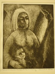 Shulamith Wittenberg Miller. Therefore I Also Have Lent Him to the Lord, 1963. Etching on paper, image: 10 x 8 in. (25.4 x 20.3 cm). Brooklyn Museum, A. Augustus Healy Fund, 65.29.2. © artist or artist's estate