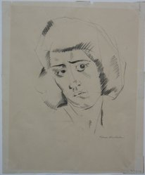Kimon Nicholaides (American, 1892-1935). Head of a Woman, n.d. Graphite or charcoal on paper, Sheet: 9 9/16 x 7 7/8 in. (24.3 x 20 cm). Brooklyn Museum, Gift of Monroe Stein, 67.212. © artist or artist's estate