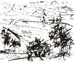 Salvadore Dalí (Spanish, 1904-1989). Landscape, 1958. Drawing in ink on wove card stock paper, 4 1/2 x 5 5/8 in. (11.4 x 14.3 cm). Brooklyn Museum, Bequest of Laura L. Barnes, 67.29.3. © artist or artist's estate