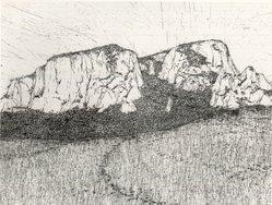 Robert Hill (American, born 1942). Hermit's Peak, 1967. Intaglio on wove paper, 18 x 23 3/4 in. (45.7 x 60.3 cm). Brooklyn Museum, Bristol-Myers Fund, 68.109. © artist or artist's estate