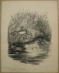 "Reginald Birch (American, born London, England, 1856-1943). Chapter IX ""The Animal Village,"" ""The Tadpole and the Frog,"" 1940. Black ink with touches of white correction fluid on heavy wove paper, Sheet: 21 1/16 x 16 1/2 in. (53.5 x 41.9 cm). Brooklyn Museum, Gift of William G. Lord, 68.225.15. © artist or artist's estate"