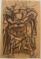 Rico Lebrun (American, 1900-1964). Woman of the Cross, 1950. Ink and pastel drawing on paper, overall: 24 1/4 x 16 1/2 in. (61.6 x 41.9 cm). Brooklyn Museum, Gift of Dr. and Mrs. Milton M. Gardner, 69.135.2. © artist or artist's estate