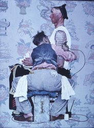 Norman Rockwell (American, 1894-1978). The Tattoo Artist, 1944. Oil on canvas, 43 1/8 x 33 1/8 in. (109.5 x 84.1 cm). Brooklyn Museum, Gift of the artist, 69.8. © 1944 SEPS:  Licensed by Curtis Publishing, Indianapolis, IN. www.curtispublishing.com