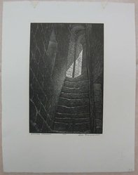Leo J. Meissner (American, 1895-1977). Medieval Stairway, n.d. Woodcut engraving on paper, Sheet: 14 3/16 x 11 in. (36 x 28 cm). Brooklyn Museum, Gift of the Society of American Graphic Artists in memory of John von Wicht, 71.60.53. © artist or artist's estate
