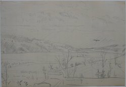 Louis Michel Eilshemius (American, 1864-1942). Landscape (with Mountains and Lake), n.d. Graphite on lined paper, Sheet: 5 1/16 x 7 5/16 in. (12.9 x 18.6 cm). Brooklyn Museum, Gift of Mr. and Mrs. Maurice Glickman, 73.117.2. © artist or artist's estate