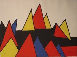 Alexander Calder (American, 1898-1976). Mountains, 1971. Color lithograph on white wove paper with deckled edges on top and bottom, 22 1/2 x 30 3/4 in. (57.2 x 78.1 cm). Brooklyn Museum, Gift of Mr. and Mrs. Samuel Dorsky, 74.178.11. © artist or artist's estate