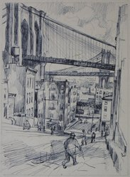 Abram Tromka (American, born Poland 1896-1954). Study of Two Bridges, ca. 1929. Ink on paper, image: 10 3/8 x 7 11/16 in. (26.4 x 19.5 cm). Brooklyn Museum, Gift of Mrs. Abram Tromka, 74.182.1. © artist or artist's estate