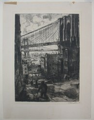 Abram Tromka (American, born Poland 1896-1954). Two Bridges, 1929. Etching on cream paper, sheet: 13 3/4 x 10 3/8 in. (34.9 x 26.4 cm). Brooklyn Museum, Gift of Mrs. Abram Tromka, 74.182.2. © artist or artist's estate