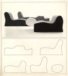 "Roberto Matta (Chilean, 1911-2002). One of Five-Piece ""Malitte"" Cushion System, designed 1966, manufactured ca. 1970. Plush jersey, polyurethane foam, 17 1/2 x 25 1/2 x 25 in. (44.5 x 64.8 x 63.5 cm). Brooklyn Museum, Gift of Knoll International, Inc., 78.128.5. © artist or artist's estate"