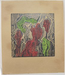 Hilda Katz (American, 1909-1997). Hallucinogenz, n.d. Linocut in color on brown wove paper, Sheet: 15 1/4 x 13 in. (38.7 x 33 cm). Brooklyn Museum, Gift of Hilda Katz, 78.154.7. © artist or artist's estate