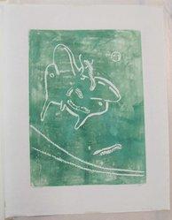 Hilda Katz (American, 1909-1997). Luna, n.d. Linocut block print, on white laid paper, Sheet: 19 7/8 x 15 3/16 in. (50.5 x 38.5 cm). Brooklyn Museum, Gift of Hilda Katz, 78.154.8. © artist or artist's estate