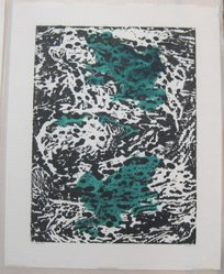 Hilda Katz (American, 1909-1997). Frogs, n.d. Block print in color on white laid paper, Sheet: 18 7/8 x 15 in. (47.9 x 38.1 cm). Brooklyn Museum, Gift of Hilda Katz, 78.154.9. © artist or artist's estate