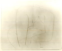Louise Nevelson (American, born Russia, 1899-1988). Untitled (Abstracted Seated Female Nude), ca. 1932-1935. Terra cotta crayon on pape, sheet: 16 15/16 x 13 7/8 in. (43 x 35.2 cm). Brooklyn Museum, Gift of Samuel Goldberg in memory of his parents, Sophie and Jacob Goldberg, and his brother, Hyman Goldberg, 78.277.9. © artist or artist's estate
