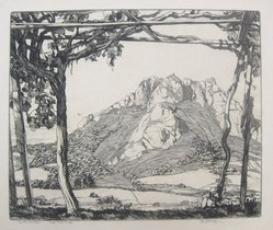 Roi Partridge (American, 1888-1984). Santa Rosita, 1923. Etching on vellum, sheet: 11 5/8 x 14 in.  (29.5 x 35.6 cm);. Brooklyn Museum, Designated Purchase Fund, 79.111.7. © artist or artist's estate