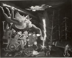 Warrington Colescott (American, born 1921). Senefelder Receives the Secrets of Lithography, 1976. Etching and aquatint on Arches paper, Plate: 21 7/8 x 27 11/16 in. (55.6 x 70.4 cm). Brooklyn Museum, Gift of the artist, 79.200.1. © artist or artist's estate