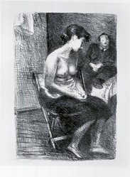 Raphael Soyer (American, born Russia, 1899-1987). In Studio, ca. 1933. Lithograph on paper, sheet: 23 3/4 x 16 in. (60.3 x 40.6 cm). Brooklyn Museum, Gift of Samuel Goldberg in memory of his parents, Sophie and Jacob Goldberg, and his brother, Hyman Goldberg, 79.299.10. © Estate of Raphael Soyer