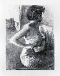 Raphael Soyer (American, born Russia, 1899-1987). The Model, ca. 1932. Lithograph on paper, sheet: 22 7/8 x 15 3/4 in. (58.1 x 40 cm). Brooklyn Museum, Gift of Samuel Goldberg in memory of his parents, Sophie and Jacob Goldberg, and his brother, Hyman Goldberg, 79.299.6. © Estate of Raphael Soyer
