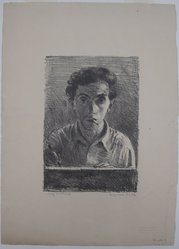 Raphael Soyer (American, born Russia, 1899-1987). Self Portrait, 1933. Lithograph on paper, sheet: 15 3/4 x 11 3/8 in. (40 x 28.9 cm). Brooklyn Museum, Gift of Samuel Goldberg in memory of his parents, Sophie and Jacob Goldberg, and his brother, Hyman Goldberg, 79.299.7. © Estate of Raphael Soyer
