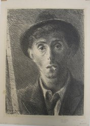 Raphael Soyer (American, born Russia, 1899-1987). Self Portrait, 1933. Lithograph on paper, sheet: 15 15/16 x 11 7/16 in. (40.5 x 29.1 cm). Brooklyn Museum, Gift of Samuel Goldberg in memory of his parents, Sophie and Jacob Goldberg, and his brother, Hyman Goldberg, 79.299.8. © Estate of Raphael Soyer