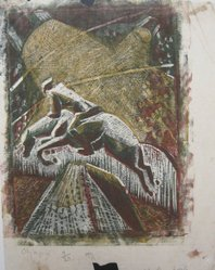 Julia Mavrogordato (British, 1903 - 1992). Olympia, ca. 1930. Linocut on paper, sheet: 10 1/4 x 8 1/8 in. (26 x 20.6 cm). Brooklyn Museum, Designated Purchase Fund, 80.146.3. © artist or artist's estate